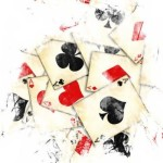 drawing of playing cards in a pile